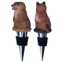 Set of 2 Wine Bottle Stopper | Animals Dog and Cat | Wooden Hand Carved | Airtight Rubber Seal | Reusable (Cat-Dog)