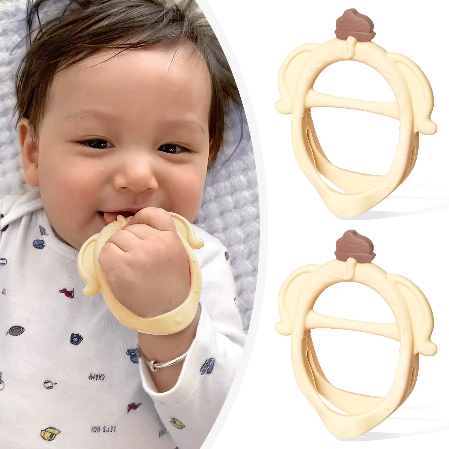 Termichy Baby Teething Toys-2 Pack BPA Free-Silicone Elephant Teether for 0-6 Months Baby Silicone Teethers for Baby Soothe Gums