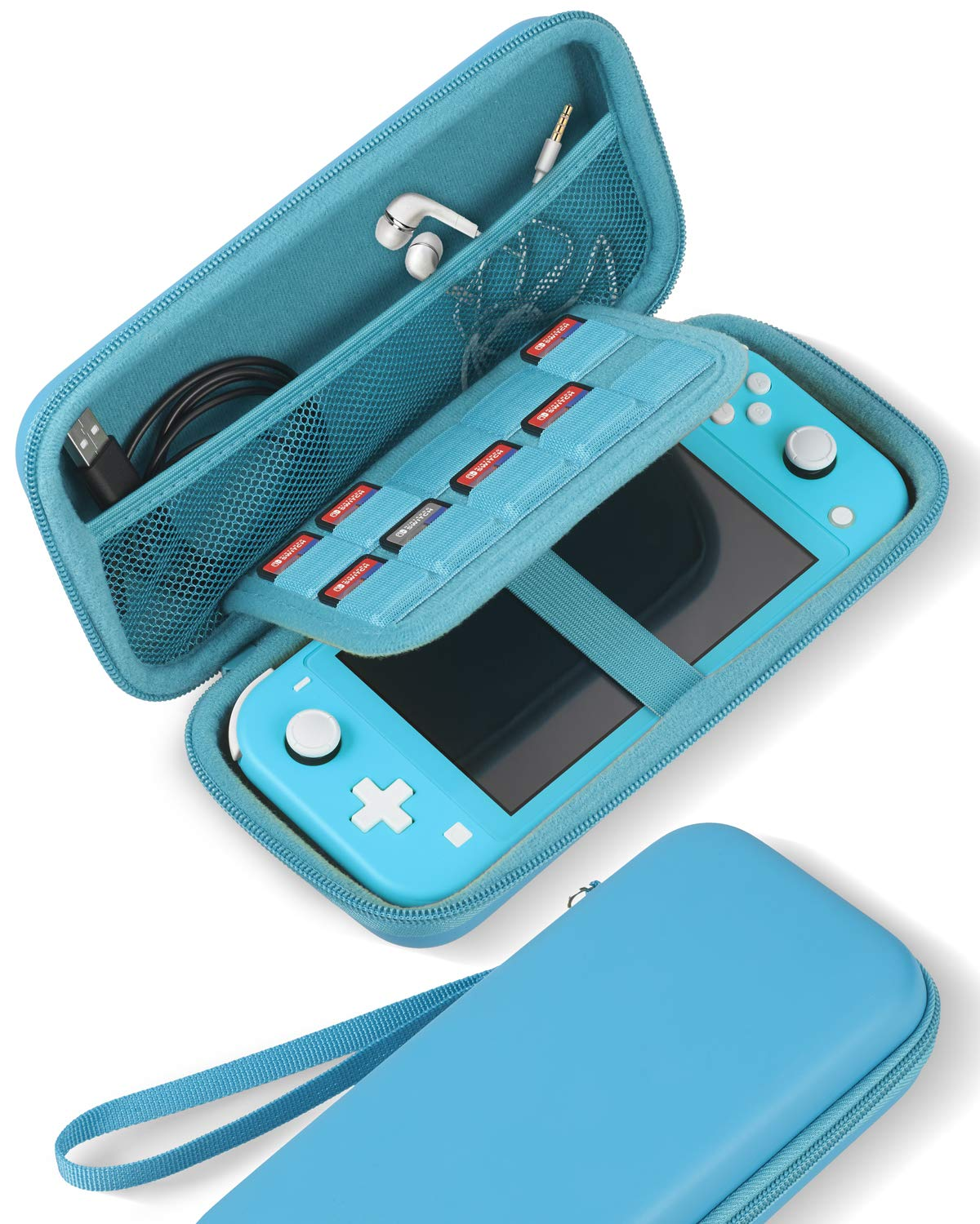 Aboom Slim Travel Carrying Case for Nintendo Switch Lite, Protective Pouch Exterior and Interior are in Same Color with Storage for Switch Lite Games & Accessories (Turquoise)