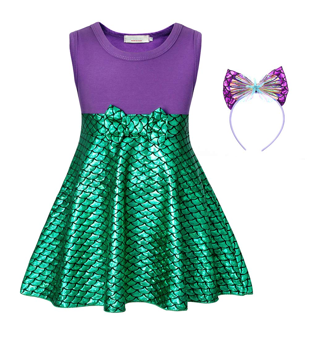 Cotrio Sleeveless Mermaid Dress Up Princess Costume Girls Fancy Party Dresses Halloween Cosplay Outfits with Headband Size 10 (6-7 Years, Purple+Green, 140)