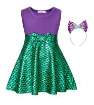 Cotrio Sleeveless Mermaid Dress Up Princess Costume Girls Fancy Party Dresses Halloween Cosplay Outfits with Headband Size 8 (5-6 Years, Purple+Green, 130)
