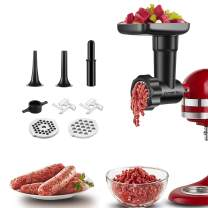 Food Grinder Attachment for Kitchenaid Stand Mixers, as Meat Mincer Accessory including Sausage Stuffer Tubes (Black)