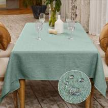 BALCONY & FALCON Rectangle Cotton Linen Tablecloth Heavy Weight Classic Table Cloth Washable 57 x 118 Inch Wrinkle and Water Resistant SquareTable Cover for Indoor and Outdoors