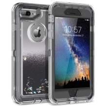 Dexnor iPhone 8 Plus Case, iPhone 7 Plus Case, Glitter 3D Bling Flowing Liquid Case 3 in 1 Shockproof TPU Silicone + PC Protective Defender Cover for iPhone 8 Plus/7 Plus/6s Plus/6 Plus - Black
