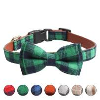 Ausget St Patricks Day Dog Bowtie, Dog and Cat Collar with Bow Tie Buckle Plaid Collar for Dogs Cats Pets Gift Soft and Comfortable, Adjustable Collar (Green, Large)