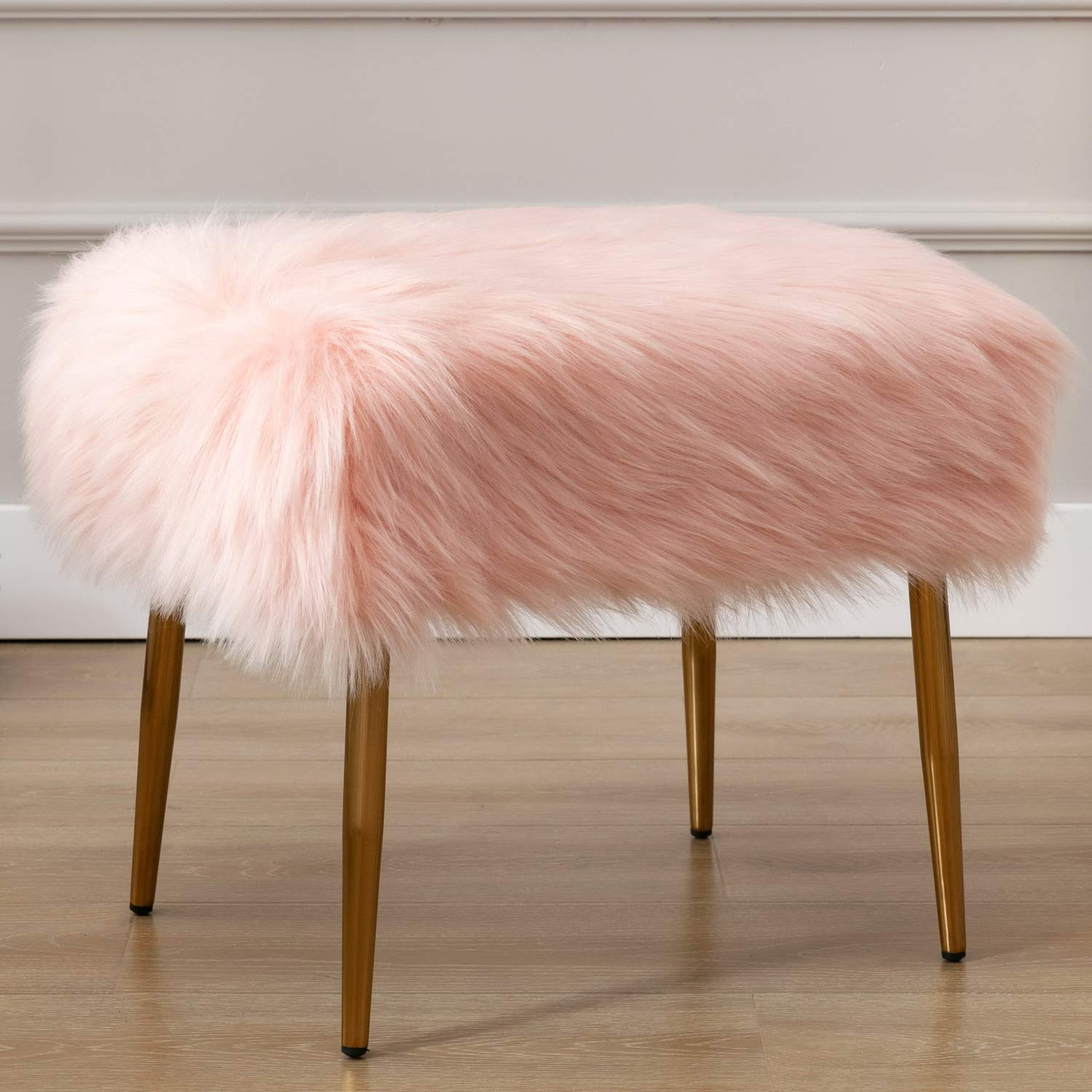 Wahson Faux Fur Accent Ottoman Footrest, Upholstered Square Shaggy Cute Fluffy Vanity Stool, for Living Room, Bedroom, Bathroom, Den, Kids Study Room, Blush