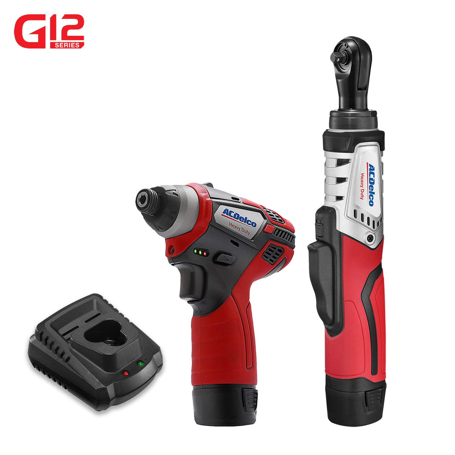 ACDelco G12 Series 2-Tool Combo Kit- 1/4 in. Brushless Ratchet Wrench + 1/4 in. Hex Power Impact Driver, two battery, charger, ARW12102-K4