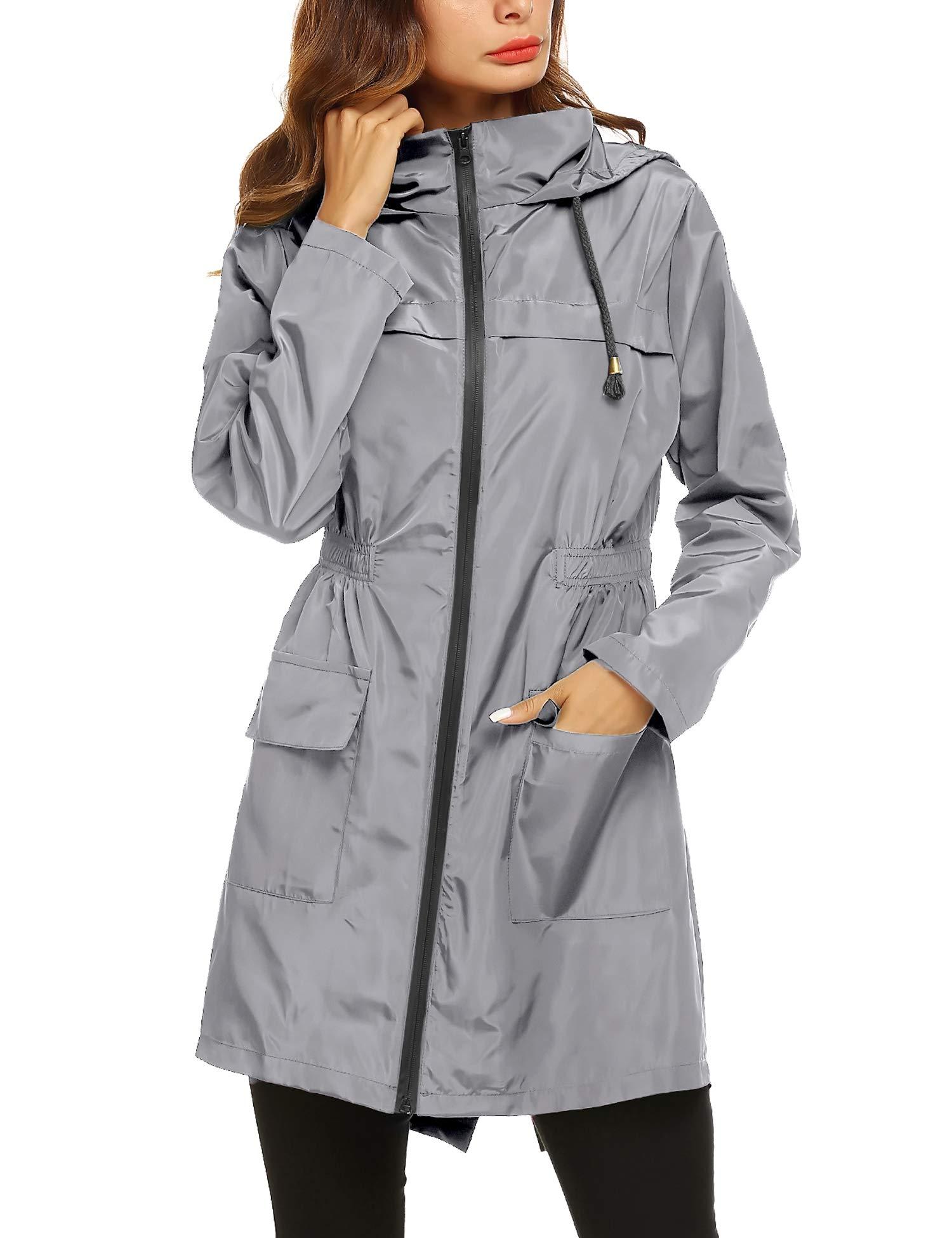 Romanstii Raincoat Outdoor Women's Lightweight Jackets Waterproof Packable Active Outdoor Rain Jacket