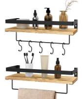 Audoc Floating Shelves Wall Mounted Shelf Rustic Wood Wall Storage Shelves with Towel Bar and 5 Removable Hooks for Bathroom Kitchen Bedroom, Set of 2 (Style 3)