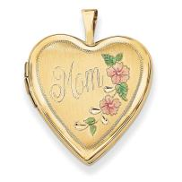 14k Yellow Gold 20mm Enamel Flowers Mom Heart Photo Pendant Charm Locket Chain Necklace That Holds Pictures Fine Jewelry For Women Gifts For Her