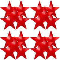 UNIQOOO 20Pcs Metallic Red Foil Star Cutouts Bulk Accents, Thick Paper Cardboard Pre-Punched Hole, for Kids Birthday Party Favors Banner Garland Backdrop Decor, Classroom Bulletin Board Craft, 9 Inch
