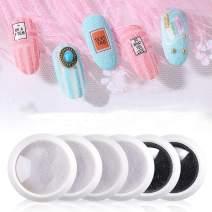 HOMOST Starry Light Glitter Powder Set, 6PCS Shiny Cloth Powder Nail Kit, Starter Gel Nail Polish Manicure DIY Kit