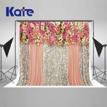 Kate 10×10ft Wedding Backdrop Sequin Bokeh Dots Bling Bridal Shower Background Floral Flowers Photo Studio Booth for Wedding Birthday Photography Free Wrinkles Pink Silver