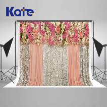 Kate 8×8ft Wedding Backdrop Pink Silver Curtain Bling Sequin Bridal Shower Background Flowers Photo Studio Booth for Birthday Party Photography Free Wrinkles