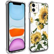 TAIPY iPhone 11 Case [6.1Inch] Sunflower Crystal Clear Design PC+TPU Environmentally Friendly Blended Material Case with 4 Corners Shock Skid Proof Protection Cover