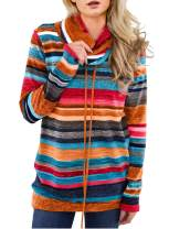 Actloe Women Cowl Neck Striped Color Block Long Sleeve Pullover Sweatshirt with Pocket