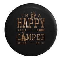 American Unlimited Happy Camper Tent Camp Fire Arrows Vintage Wood Spare Tire Cover (Fits: Jeep Wrangler Accessories or SUV Camper RV) Black 33 in