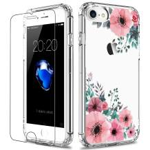 LUHOURI iPhone SE 2020 Case,iPhone 8 Case,iPhone 7 Case with Screen Protector,Clear with Pink Blossoms Floral for Girls Women,Protective Phone Case for iPhone 7 /iPhone 8/ iPhone SE2