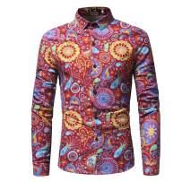 Mens Dress Shirt Slim Fit Floral Print Long Sleeve Casual Button Tee T-Shirt Tops Blouse Pullover Jumper Sweatshirts