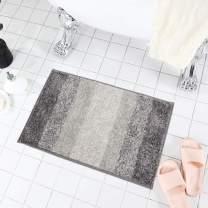 "HEBE Non-Slip Bathroom Rug Mat Absorbent Bath Mats for Bathroom Shag Microfiber Shower Bath Rug Floor Carpet Machine Washable(32""X20"", Gradient Grey)"