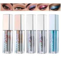5 Colors Liquid Eyeshadow Glitter Liquid Set Marble Shimmer Liquid Eye Shadow Long Lasting Waterproof Liquid Eyeliner Set Metallic Makeup Set (B)