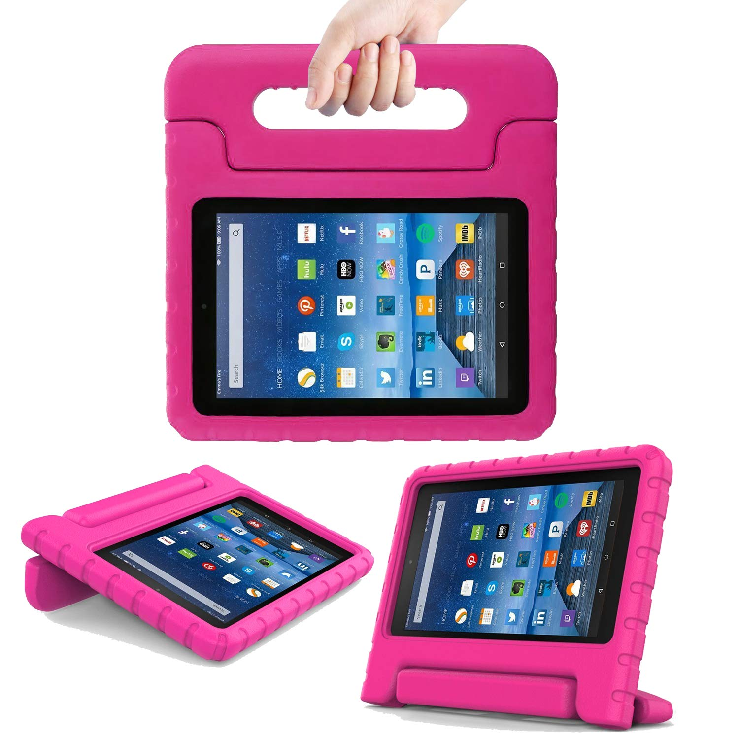 TIRIN All New Fire 7 2019/2017 Case - Light Weight Shock Proof Handle Kid-Proof Cover Kids Case for All New Fire 7 Tablet (9th/7th Generation, 2019/2017 Release), Rose