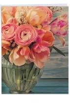 The Best Card Company - Jumbo Flower Mothers Day Card (8.5 x 11 Inch) - Womens Floral Greeting Card for Mom - Full Blooms J6553FMDG