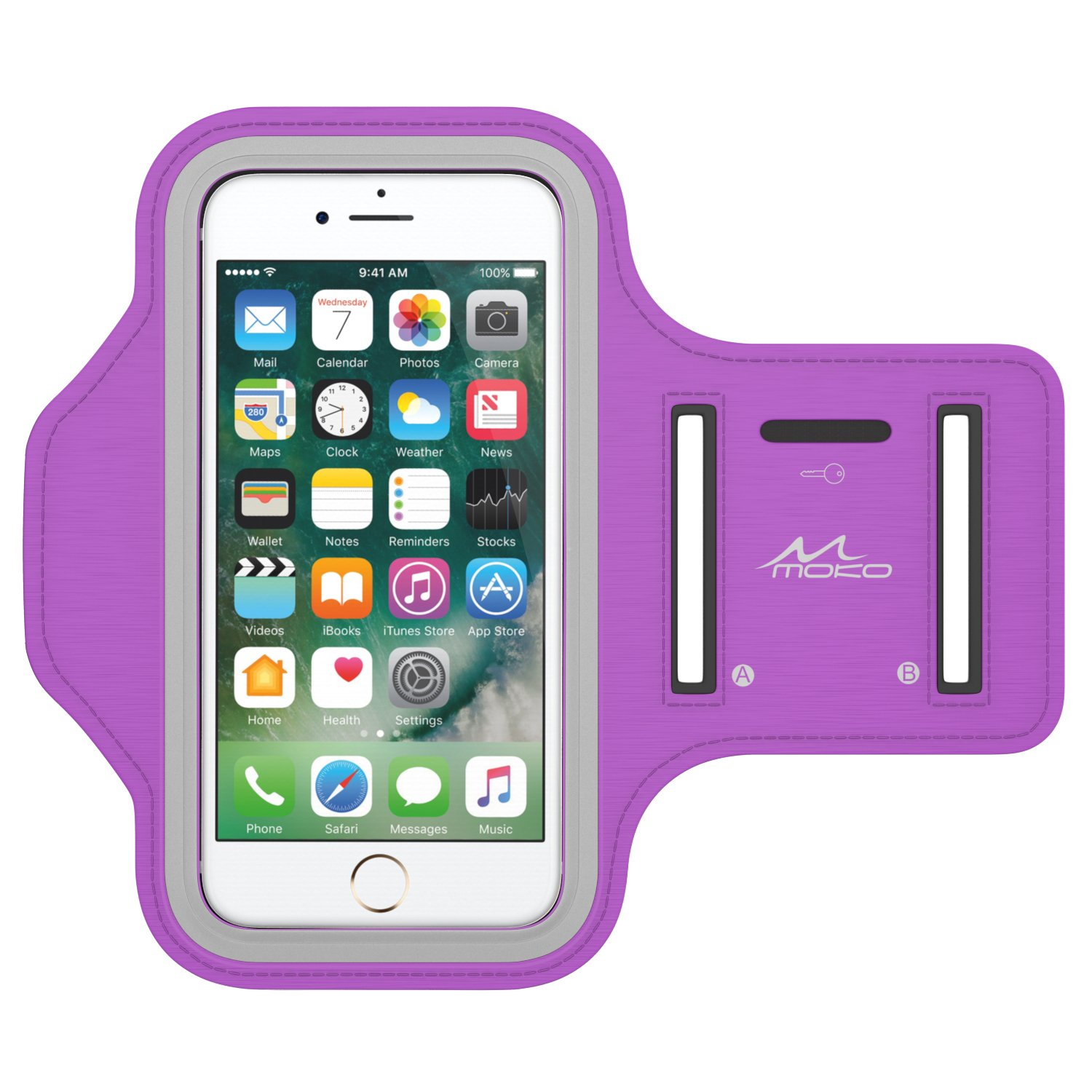 MoKo Phone Armband, Water Resistant Running Cell Phone Armband with Key Holder Adjustable Band Compitable with iPhone 11 Pro, X, Xs, 8, 7, 6, 6s, 5s, 5c, SE, 5, 4S,4 for Walking Fitness, Purple
