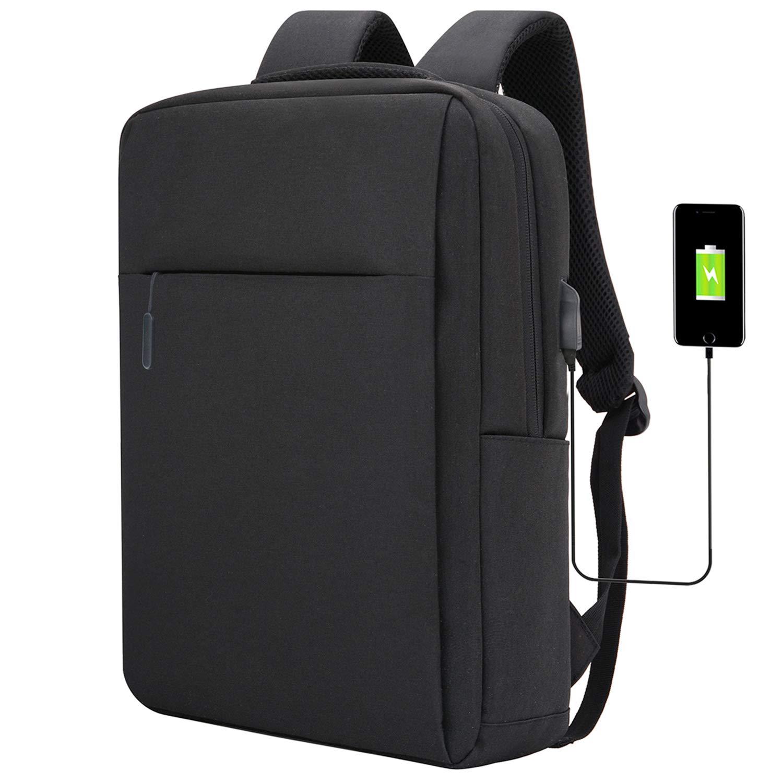 Slim Laptop Backpack Lightweight Business Backpack College School Bookbag Fits 15 15.6 Inches Laptop Water Resistant Computer Bag with UBS Charging Port for Women & Men, Black