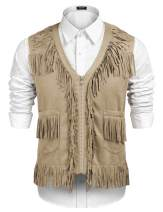 COOFANDY Mens Western Cowboy Vest Casual Fringe Hippie Costume V Neck Zipper Suede Leather Waistcoat