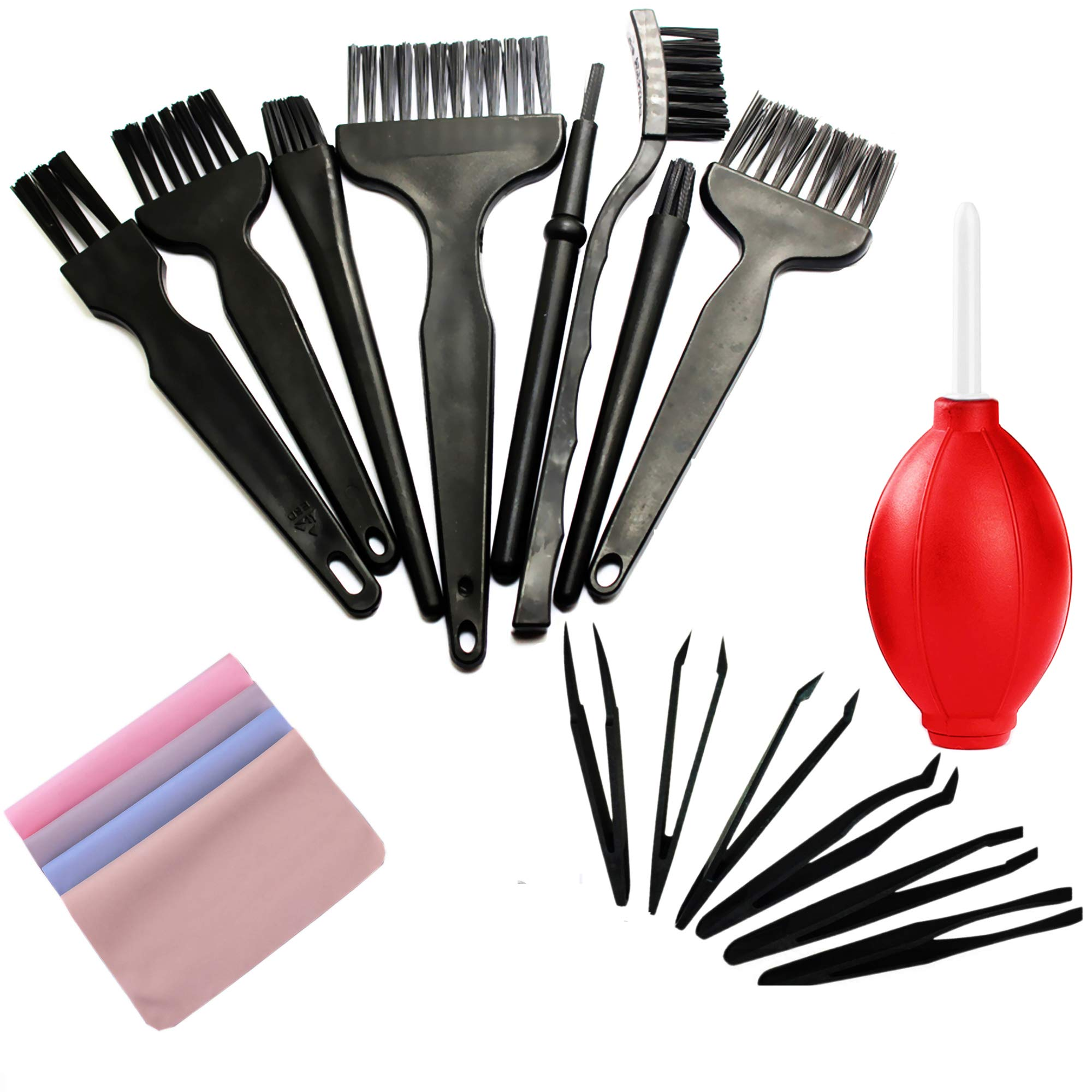 Small Anti Static ESD Safe Cleaning Dust Brush Kit for Phone Computer Keyboard Laptop Screen Camera Lens,ESD Precision Plastic Tweezers Set,Microfiber Cleaning Cloths,ESD Gloves,Air Blow Cleaner