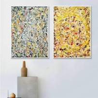 INVIN ART Combo Painting 2 Pieces by Jackson Pollock Framed Canvas Giclee Print Art Abstract Wall Art Series #3(White Slim Frame,24x32Each Piece)
