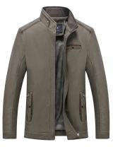 Springrain Men's Casual Slim Fit Stand Collar Cotton Jackets