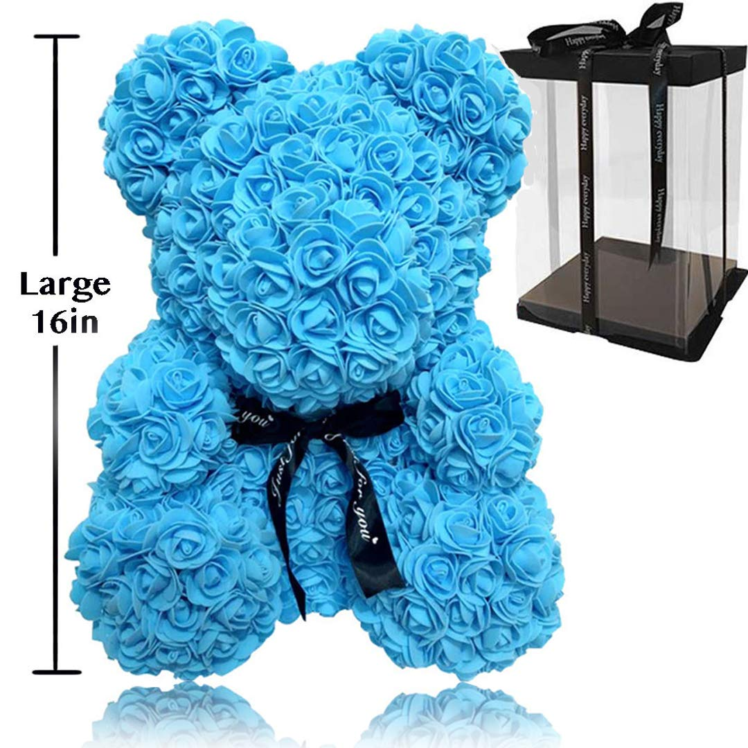 Rose Flower Bear - Fully Assembled Hugz Teddy Bear - Over 20 Dozen Artificial Flowers - Gift for Mothers Day, Valentines Day, Anniversary & Bridal Showers - w/Clear Gift Box (Blue, Large 16 Inch)
