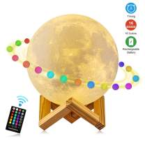 Moon Lamp Moon Night Light, 3D Printing 5.9 Inch 16 Colors Moon Light with Stand & Remote &Touch Control and USB Rechargeable Decorative Luna Lamp for Baby Kids Lover Birthday Party Gifts