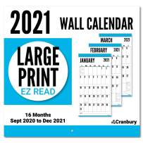 CRANBURY Large Print Calendar 2021 - (Blue), 12x23 (Open), Use Now to December 2021, Stunning Big Grid Calendar 2021 for Seniors, Thick Non Glossy Paper, Large Wall Calendar 2021 for Planning