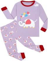 WWEXU Girls Pajamas Set Cotton Sleepwear Long Sleeve Pjs Kids Clothes