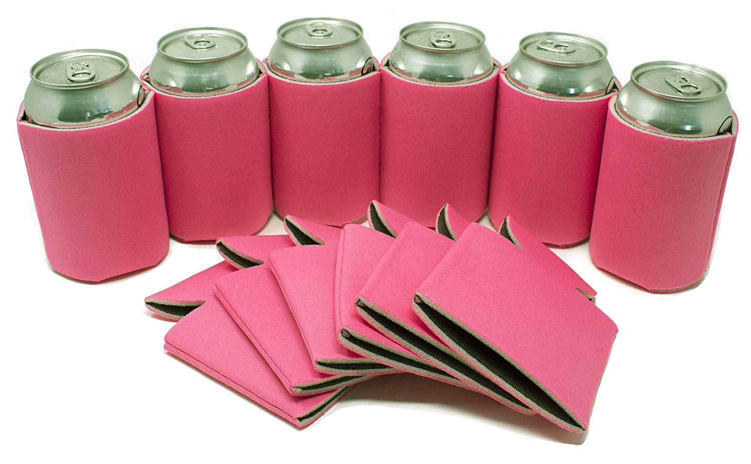 TahoeBay 12 Blank Beer Can Coolers, Plain Bulk Collapsible Soda Cover Coolies, DIY Personalized Sublimation Sleeves for Weddings, Bachelorette Parties, Funny HTV Party Favors (Hot Pink, 12)