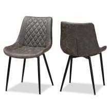 Baxton Studio Dining Chairs, Grey/Brown/Black