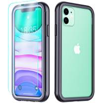 Temdan iPhone 11 Case, Full Body Built in Tempered Glass Screen Protector Bumper Case Real Shock Dust Proof Impact Resist Extreme Durable Protective Case Compatible with iPhone 11 6.1 inch 2019