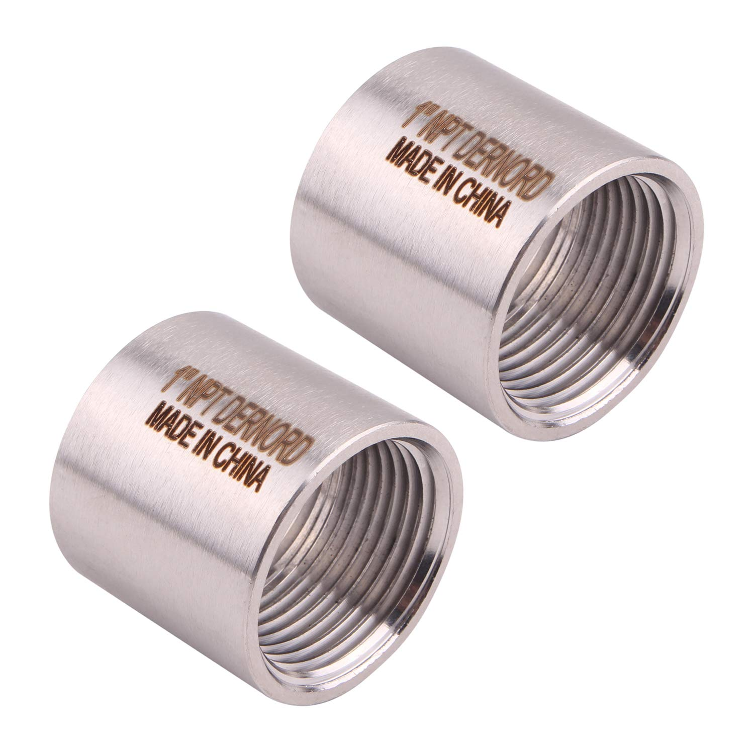 """Stainless Steel 304 Cast Pipe Fitting, Coupling, Class 150, 1""""NPT Female, Pack of 2"""