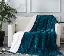 "DaDa Bedding Mermaid Scales Lavish Luxe Soft Warm Cozy Plush Reversible Faux Fur Sherpa Fleece Throw Blanket - Bright Vibrant Embossed Textured Green Blue Teal & White Back Print - 90"" x 90"""