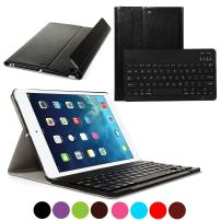 CoastaCloud iPad Air 1 Bluetooth Keyboard Case Ultra Slim Folding Leather Folio Smart Case Stand Cover with Removable Wireless Bluetooth Keyboard for Apple iPad Air 1st (Black)