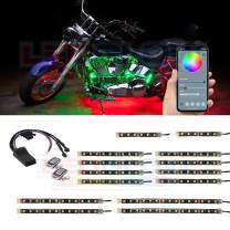 LEDGlow 14pc Bluetooth Advanced Million Color LED Motorcycle Accent Underlow Lighting Kit - Smartphone App - Dual Zone & Brake Lights Feature - Waterproof Control Box - Multi-Color Flexible Strips