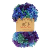 BambooMN Chunky Fluffy Soft Fur Variegated Eyelash Yarn - 100% Polyester - Blue Sparkle - 4 Skeins