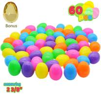 """60 Pieces 2 ⅜"""" Easter Eggs Include 1 Golden Egg for Filling Specific Treats, Easter Theme Party Favor, Easter Eggs Hunt, Basket Stuffers Filler, Classroom Prize Supplies"""