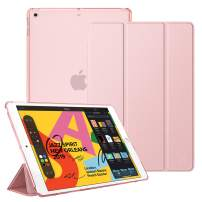 """Fintie Case for New iPad 7th Generation 10.2 Inch 2019 - Lightweight Slim Shell Stand with Translucent Frosted Back Cover Supports Auto Wake/Sleep for iPad 10.2"""" 2019 Tablet, Rose Gold"""