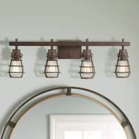 """Bendlin Industrial Rustic Wall Light LED Oil Rubbed Bronze Cage Hardwired 31"""" Wide 4-Light Fixture for Bathroom Vanity - Franklin Iron Works"""