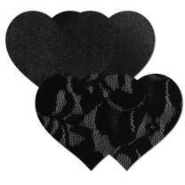Nippies Women's Black Heart Waterproof Self Adhesive Fabric Nipple Cover Pasties