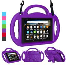 LEDNICEKER Kids Case for Fire HD 8 2018/2017 - Shockproof Handle Friendly Kids Stand Case with Shoulder Strap for Amazon for Fire HD 8 inch Tablet (7th & 8th Gen Tablet, 2017 & 2018 Release) - Purple